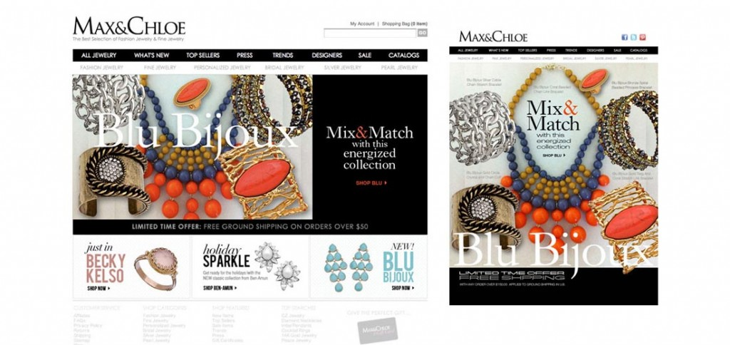 Max & Chloe banner and email designs.