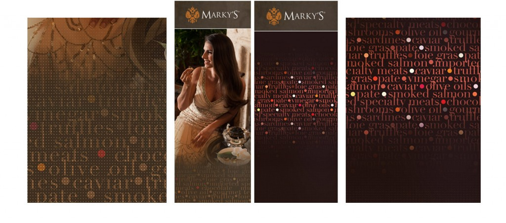 Marky's Gourmet store display design and photography (triptych 5').