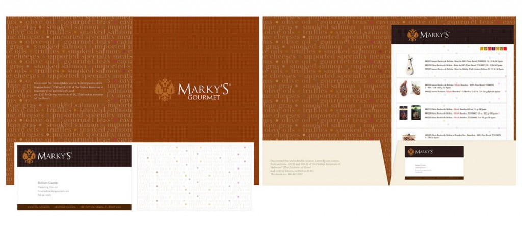 Marky's Gourmet marketing piece and business cards.