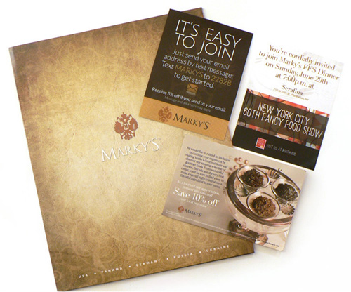 Marky's Gourmet design for sales kit and event postcards.