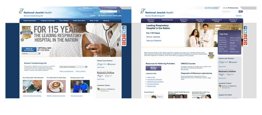 National Jewish Health website. Created layouts, section formatting, navigation.