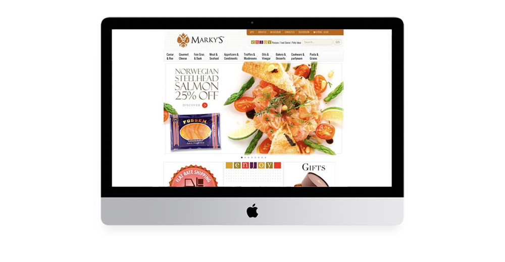 Marky's Gourmet website design, all art direction, branding.